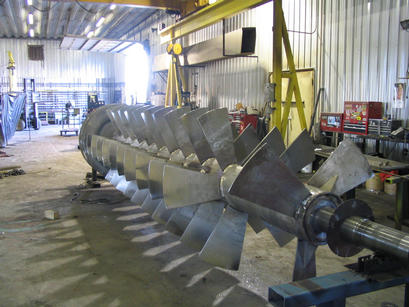 Fabrication of a new heavy-duty stainless steel auger feed screw